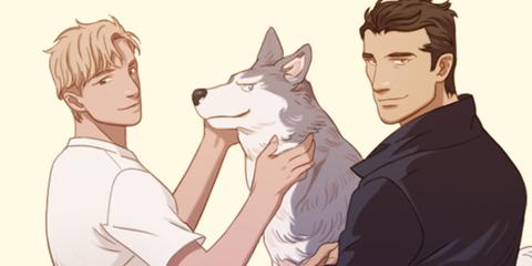 개 한 마리와 두 남자